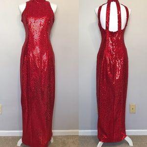 Flirtations Formal Red Sequins Long Dress